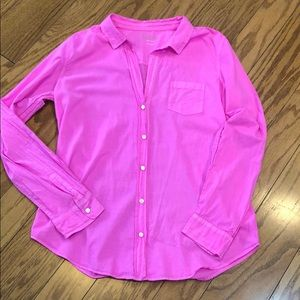 Lilly Pulitzer Anna Maria Pink Button Down Blouse